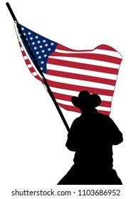 silhouette of a man. silhouette of a cowboy. vector illustration of a Rodeo cowboy horse riding with american stars and stripes flag in the background