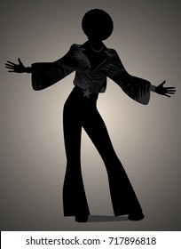 Silhouette of man dancing soul, funky or disco music. Retro Style.