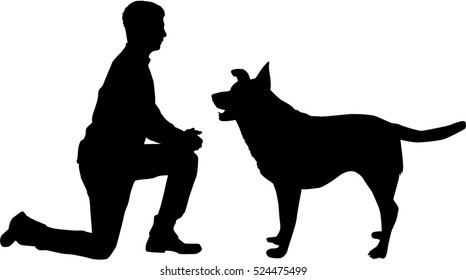 Silhouette of a man with a dog.