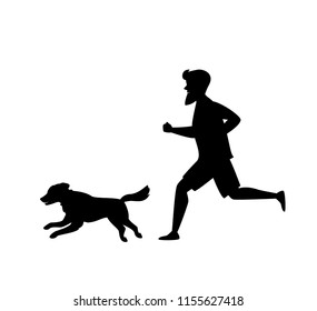 silhouette of a man and dog running together vector illustration