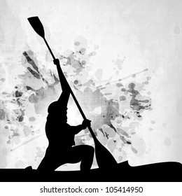 Silhouette of a man doing kayaking on abstract grungy grey background. EPS 10.