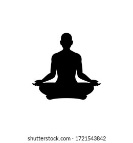 a silhouette of a man doing meditation. Vector Illustration