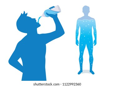 Silhouette of man drinking water from bottle and another person have aqua in body.
