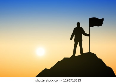 Silhouette of ัyoung man and flag on top mountain, sky and sun light background. Business, success, leadership, achievement and people concept. Vector illustration.