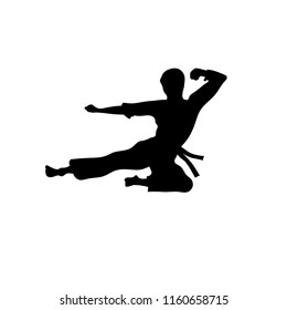 silhouette of а man flying kick Martial arts  logo concept