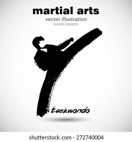 Silhouette of a man in the front karate, taekwondo, martial arts. In the style of eastern painting. Designed for sports events, competitions, tournaments, vector illustrations.