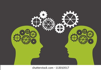 silhouette man with gears over gray background. vector