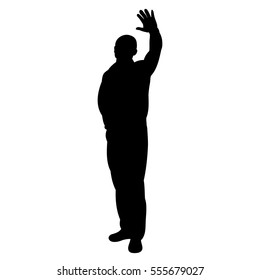 silhouette of a man greeting