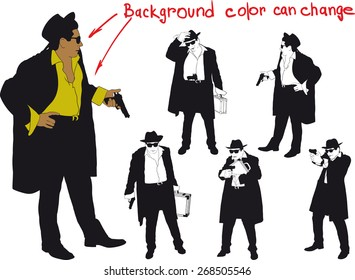 silhouette of man with gun and and hat. Shirt color and body can be easily changed