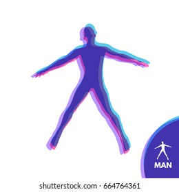 Silhouette of a man. Hands pointing in different directions. Vector illustration.