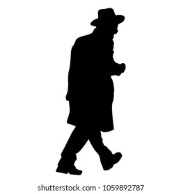 Silhouette. The man in the hat. Jew. Hasidim. Isolated vector illustration. Black and white.