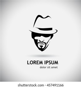 Silhouette of a man in a hat logo. Vector