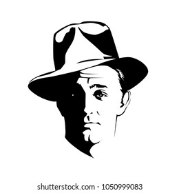 Silhouette of man in a hat and suit on white background vector. Black and white Illustration, retro american detective style, poster, sign usage. Style noir