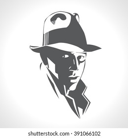 Silhouette of a man in a hat and suit on white background vector. Black and white picture, retro american detective, poster, sign usage. Illustration in style noir