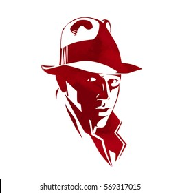 Silhouette of man in a hat and suit. Retro american detective style, poster, sign usage. Style noir. Hand drawn portrait splash watercolor vector. Men's illustration for avatar, poster, print, t-shirt