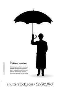 Silhouette of a man in a hat with an umbrella. Vector.