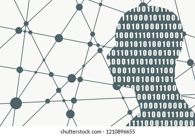 Silhouette of a man head textured by binary code. Scientific and technology background. Connected lines with dots.