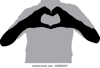 Silhouette man of Heart shape made with hands.