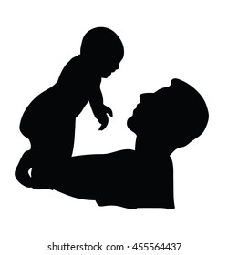 silhouette of a man holding a baby. vector illustration