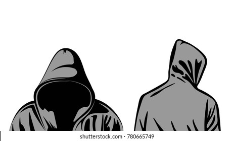 Silhouette of man in hoodie. Front back. Vector .