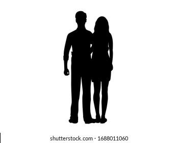 Silhouette of man hugging beloved woman. Illustration icon symbol