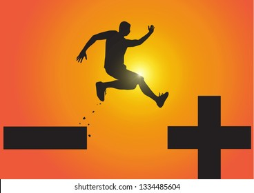 Silhouette of man jumping from minus sign to plus sign on golden sunrise background, pessimistic to optimistic concept vector illustration