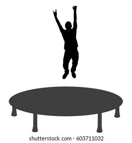 silhouette of a man jumping on a trampoline, having fun