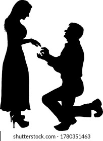Silhouette of a man kneeling on his knees while proposing to a woman for her hand in marriage. Vector illustration.