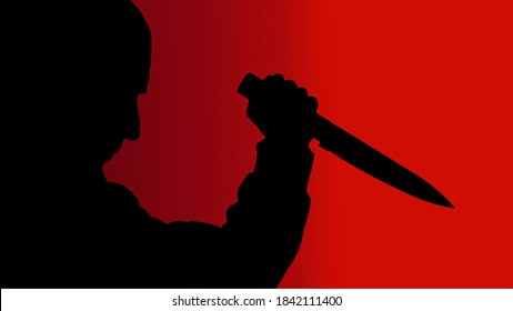 silhouette man with knife on red background,vector illustration