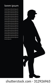 silhouette of a man leaning against the wall