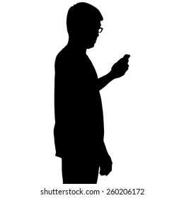 Silhouette man looking at smartphone on hand isolated on white background
