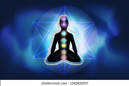 Silhouette of a man in lotus position with luminous chakras and aura on a foggy blue shine background, enclosed in Merkaba crystal.  Concept illustration for yoga, meditation, relax, recreation, healt