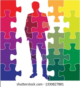 silhouette of a man, made up of puzzles. all colors of the rainbow. vector illustration. EPS 8.
