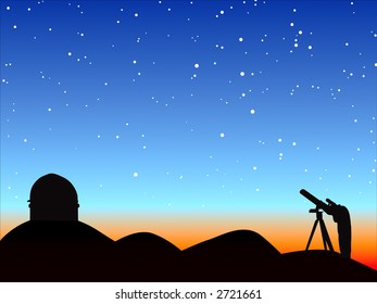 Silhouette of man observing against starry sky