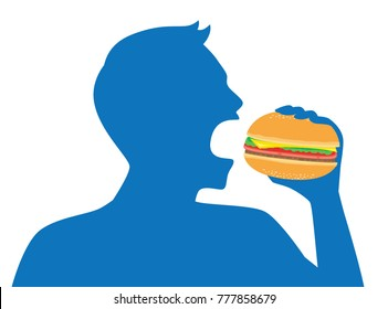 Silhouette of man open his mouth for eating a hamburger. Illustration about Americans fast food.