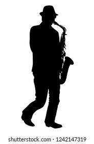 Silhouette of a man playing the saxophone, EPS 10 file