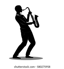 Silhouette man playing saxophone on white background.Concept of recreation,Relaxation,Inspiration. Vector illustration.