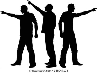 silhouette of man pointing his finger