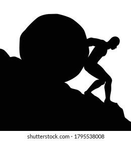 Silhouette of man pushing big boulder uphill on white background. Concept of fatigue, effort, courage.