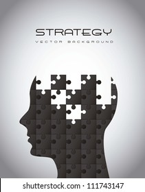 silhouette man with puzzles, strategy. vector illustration