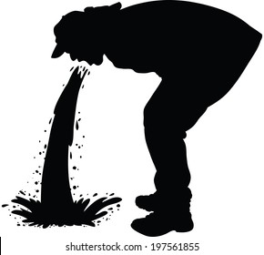 Silhouette of a man releasing a large stream of vomit.