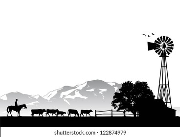 Silhouette of a man riding horse in cow farm, vector