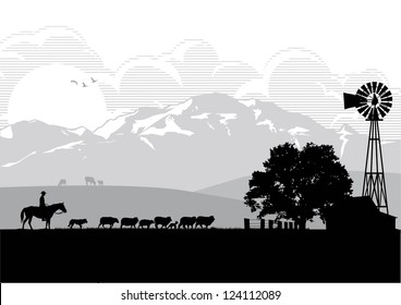 Silhouette of a man riding horse in sheep farm, vector