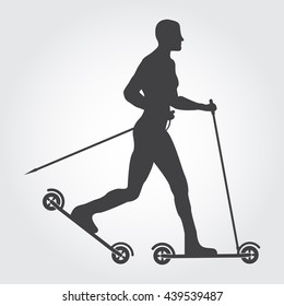 Silhouette of man roller skiing. Guy with roller-skis on the grey background. Art design for sport.