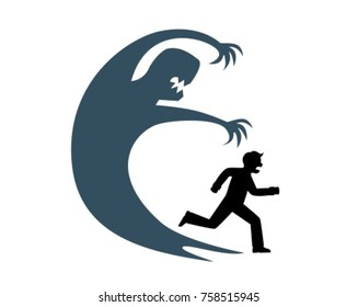 The silhouette of a man runs away from his huge shadow which symbolizes fear