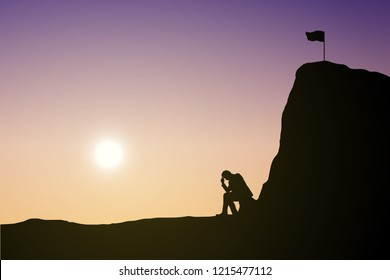 Silhouette man are sad to not be able to climb the mountain. Sky and sunset background. Unsuccessful and fail concept. Eps10 Vector illustration.