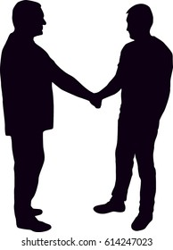 Silhouette of man shaking hands vector illustration