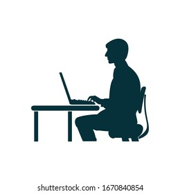 Silhouette of a man sitting at a computer on a white background.