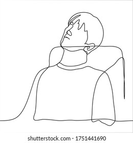The silhouette of a man sitting tiredly on a chair. His head is lowered to the back of his chair, his body is relaxed. One continuous line art concept of fatigue, sadness, apathy, loss of energy, loss