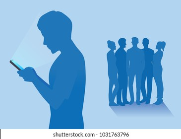 Silhouette of Man with smartphone left out of friends group. Illustration about social media addiction and real relationship with friend.